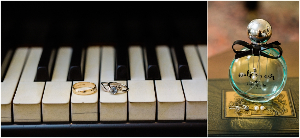 Wedding rings on a piano and Kate Spade Walk on Air Purfume