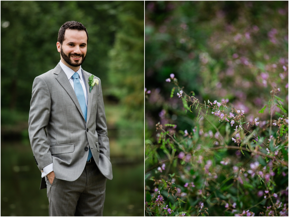 Formal wedding day photo of groom photo in Forest Park