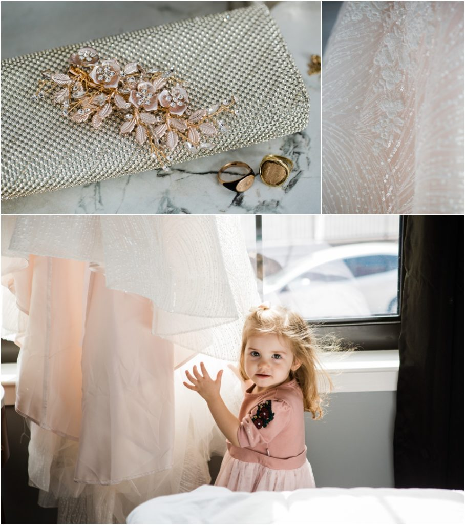 Bride's details, flower girl with wedding dress
