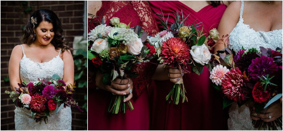 Bride and fall wedding bouquet at 9th Street Abbey