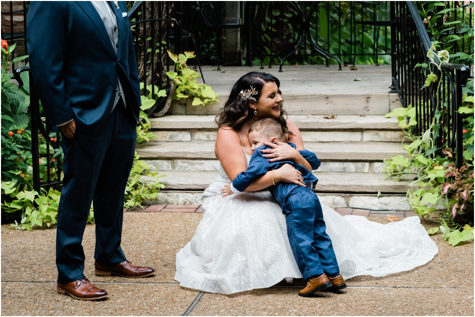 First look with bride and her son