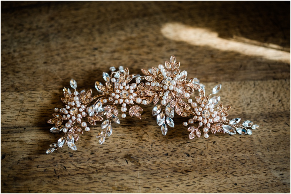 Bride's antique rose gold and pearl hair comb.
