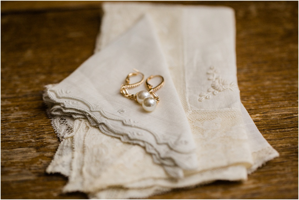 Antique handkerchief and pear drop earrings