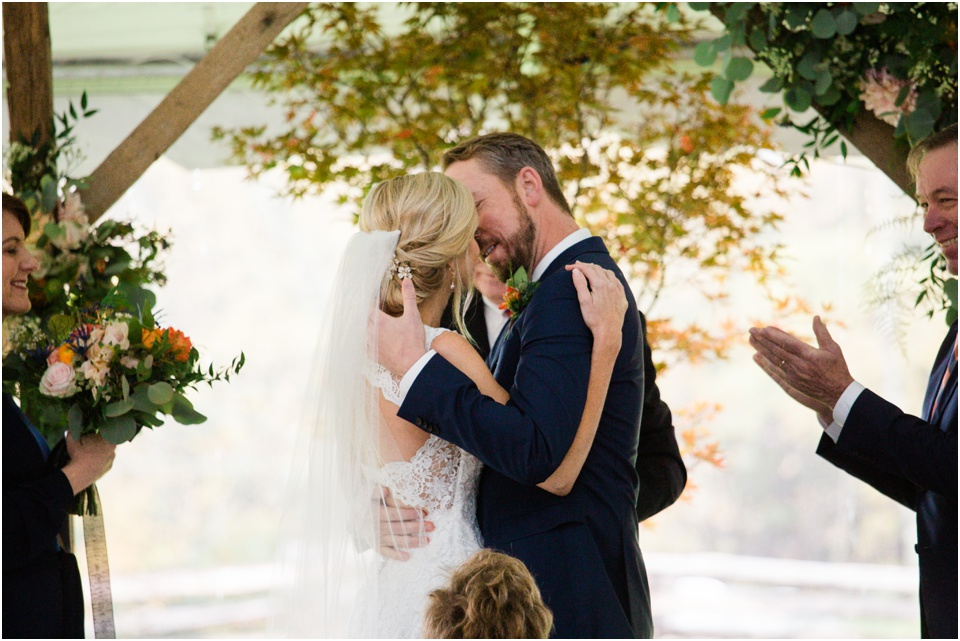 Groom and Bride kiss after being pronounced husband and wife