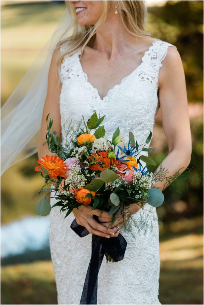 Close up on fall bridal bouquet