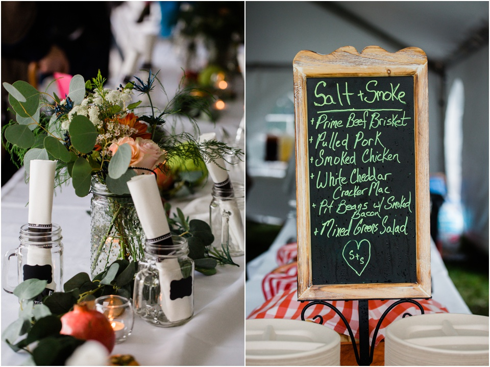 ornate chalkboard with reception food menu